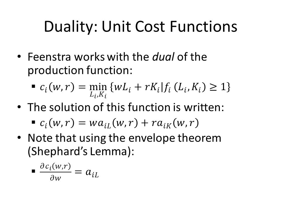 Duality: Unit Cost Functions