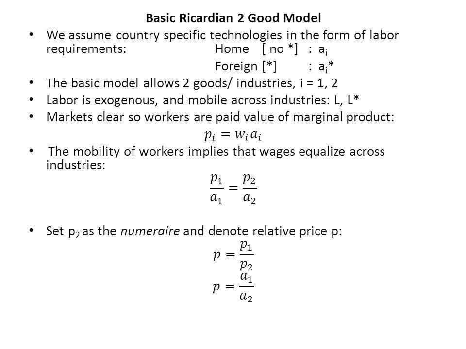 Basic Ricardian 2 Good Model