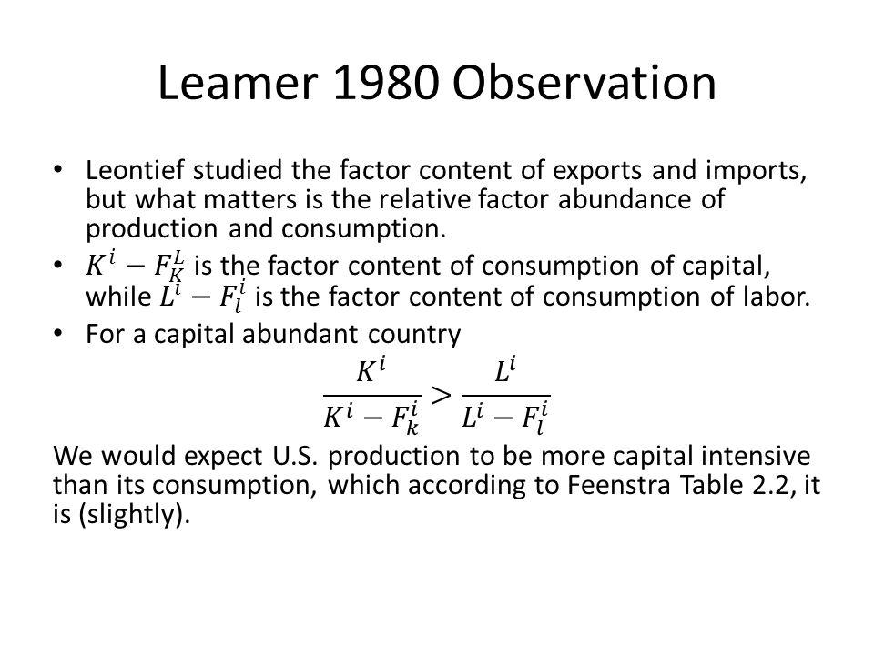 Leamer 1980 Observation