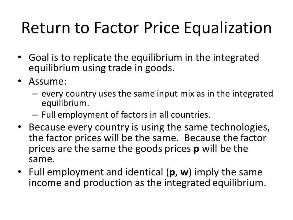 Return to Factor Price Equalization