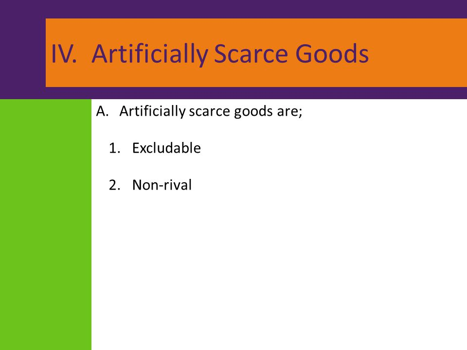 IV. Artificially Scarce Goods