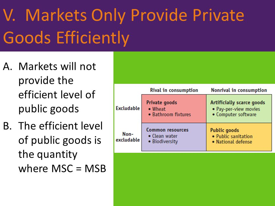 V. Markets Only Provide Private Goods Efficiently