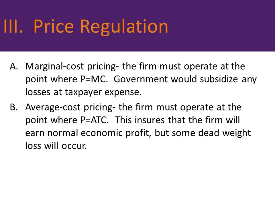 III. Price Regulation