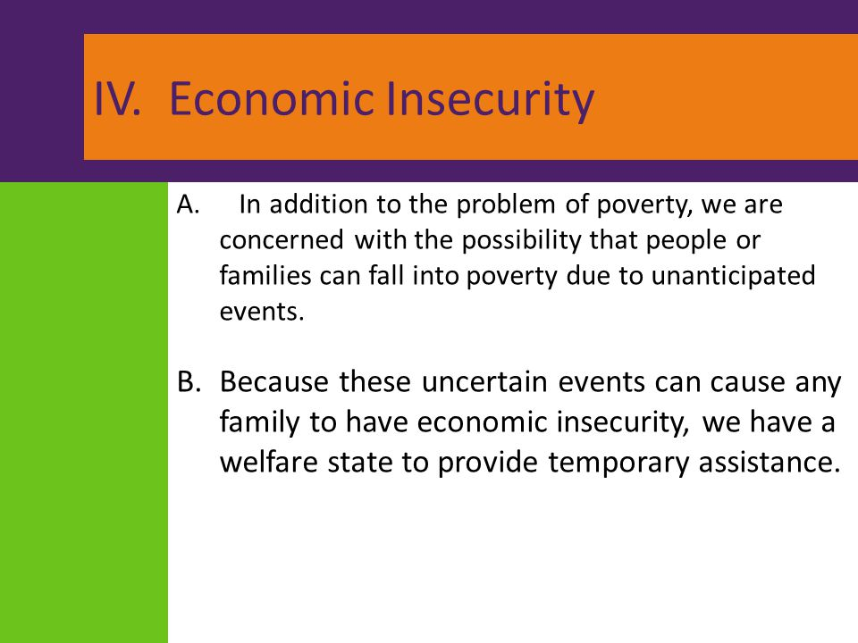 IV. Economic Insecurity