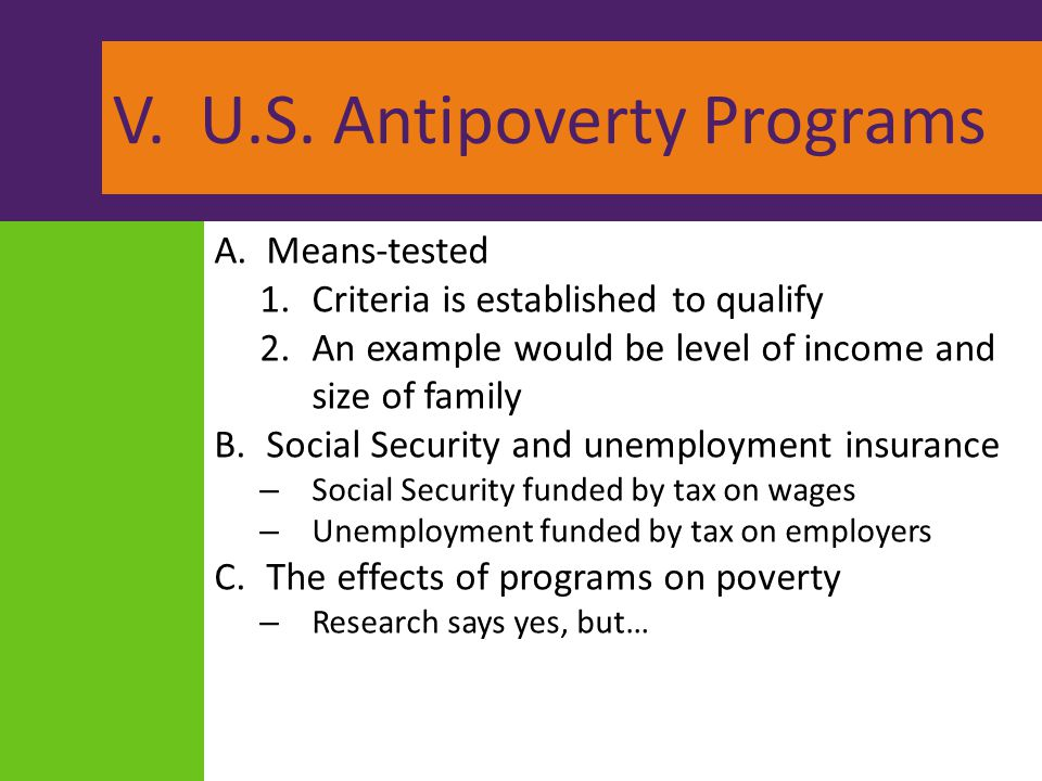 V. U.S. Antipoverty Programs