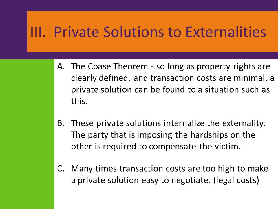 III. Private Solutions to Externalities