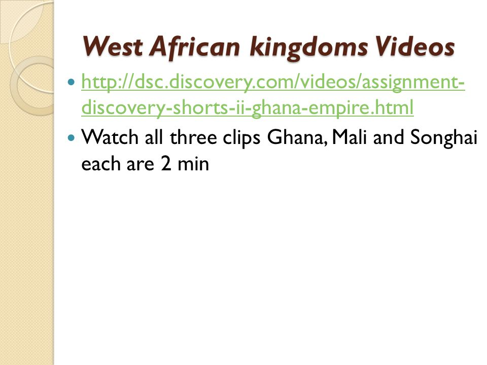 West African kingdoms Videos