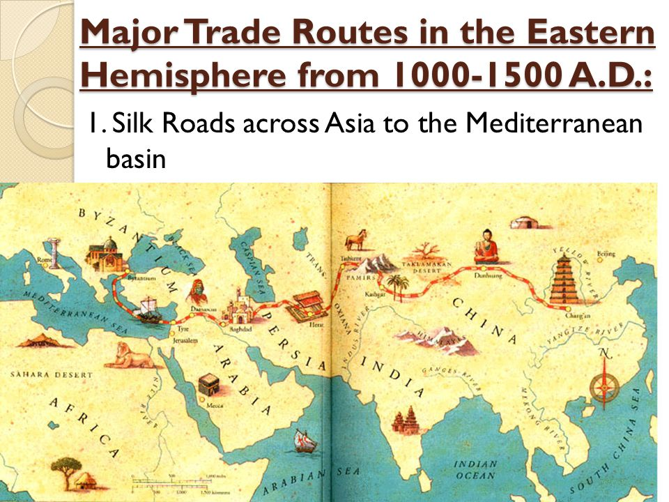 Major Trade Routes in the Eastern Hemisphere from 1000-1500 A.D.: