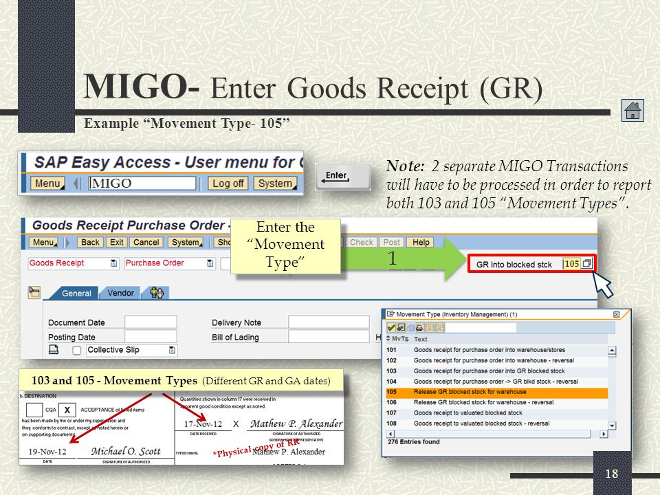 MIGO- Enter Goods Receipt (GR)