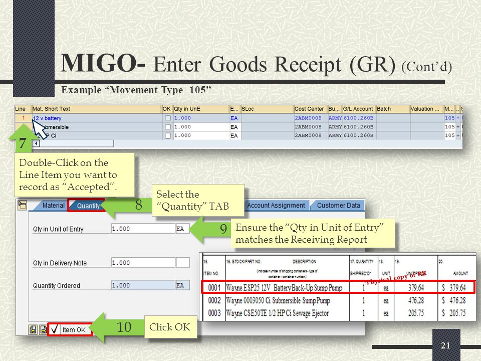 MIGO- Enter Goods Receipt (GR) (Cont'd)