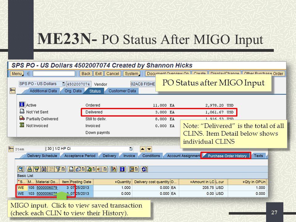 PO Status after MIGO Input
