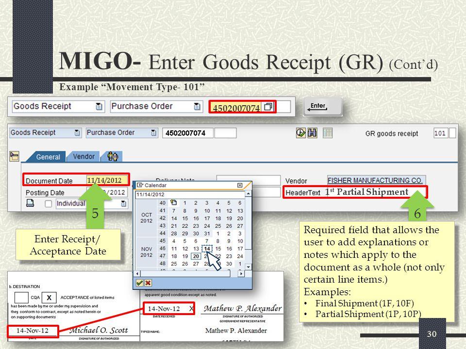 Enter Receipt/ Acceptance Date