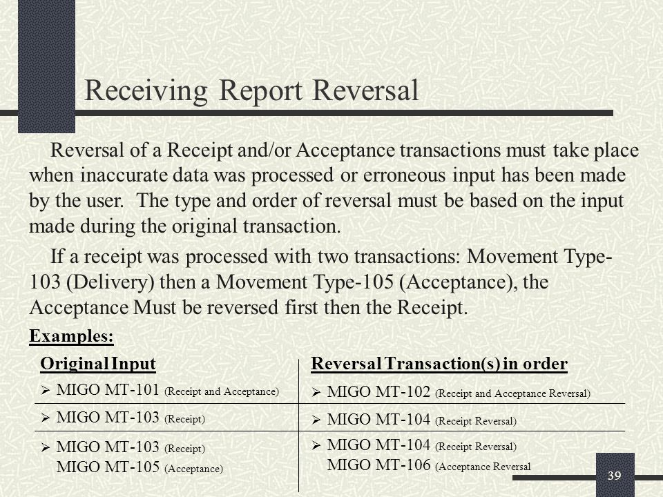 Receiving Report Reversal