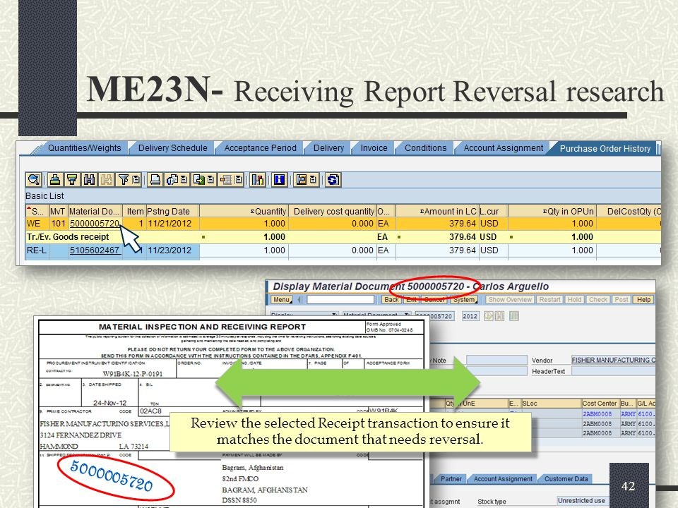 ME23N- Receiving Report Reversal research