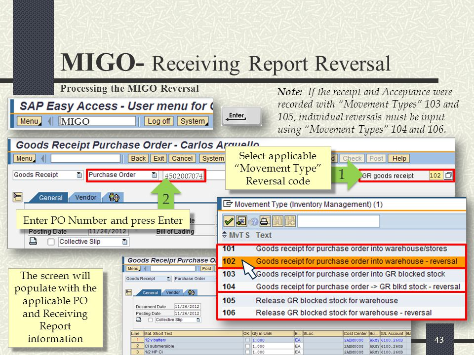 MIGO- Receiving Report Reversal