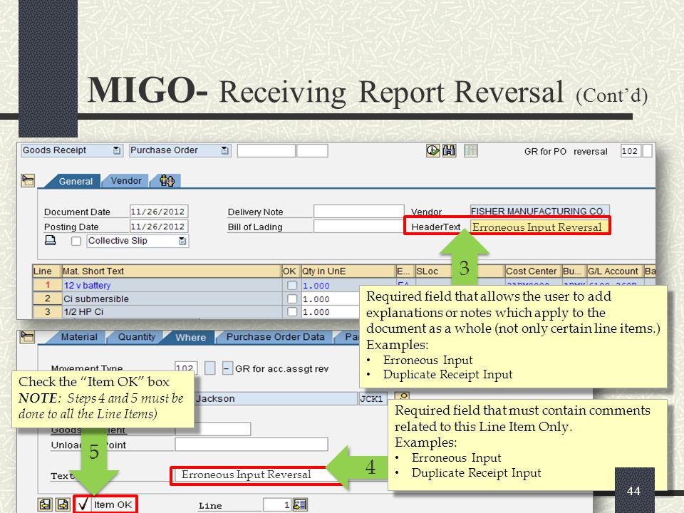 MIGO- Receiving Report Reversal (Cont'd)