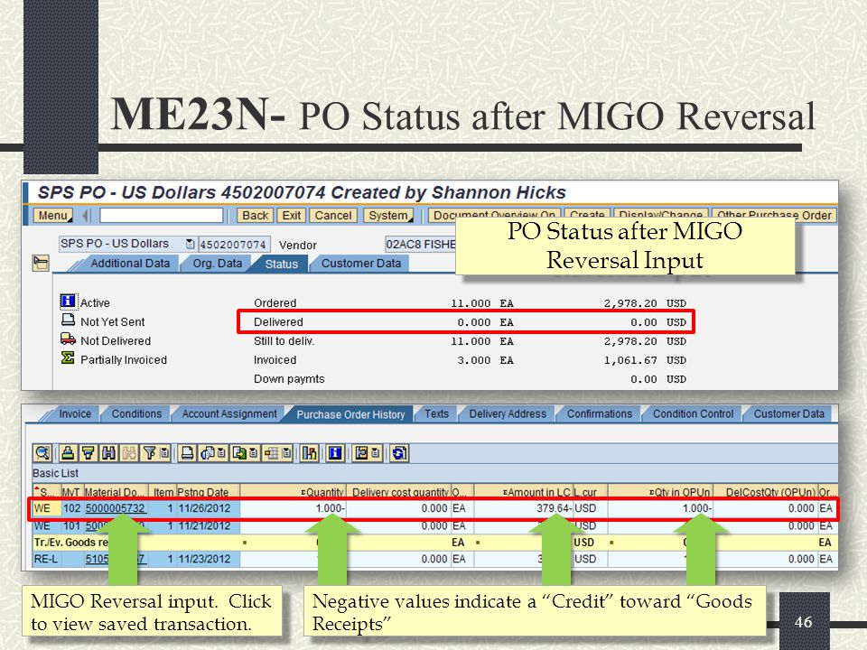 PO Status after MIGO Reversal Input