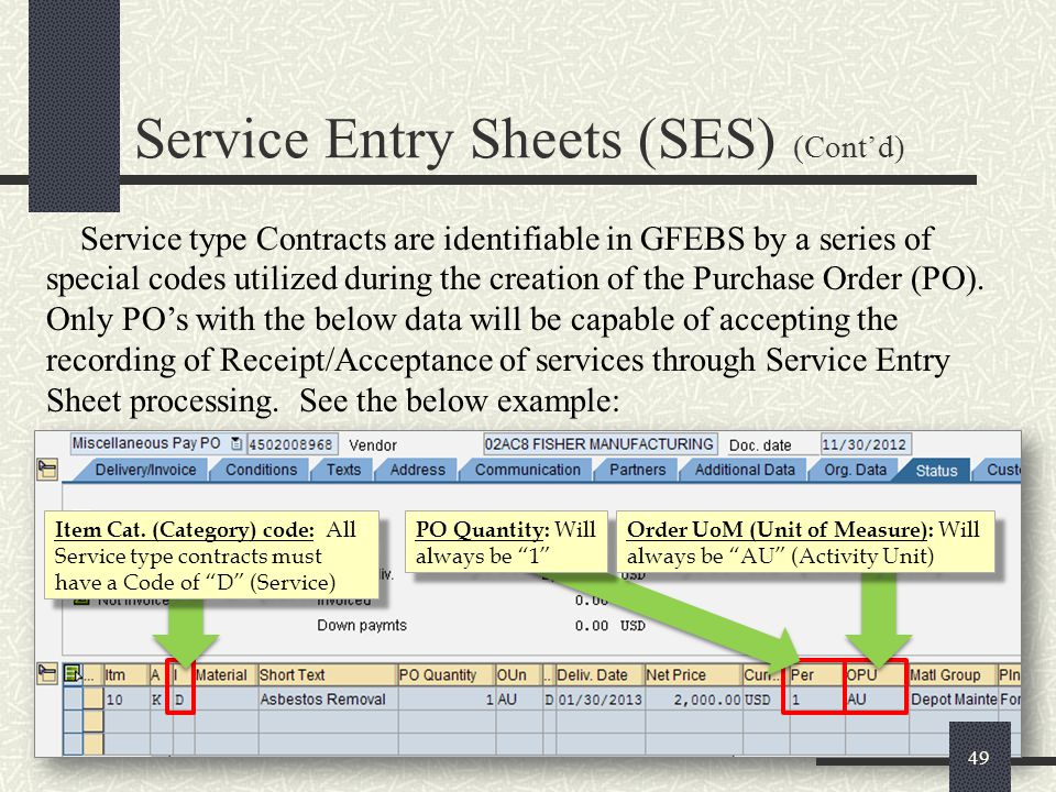 Service Entry Sheets (SES) (Cont'd)