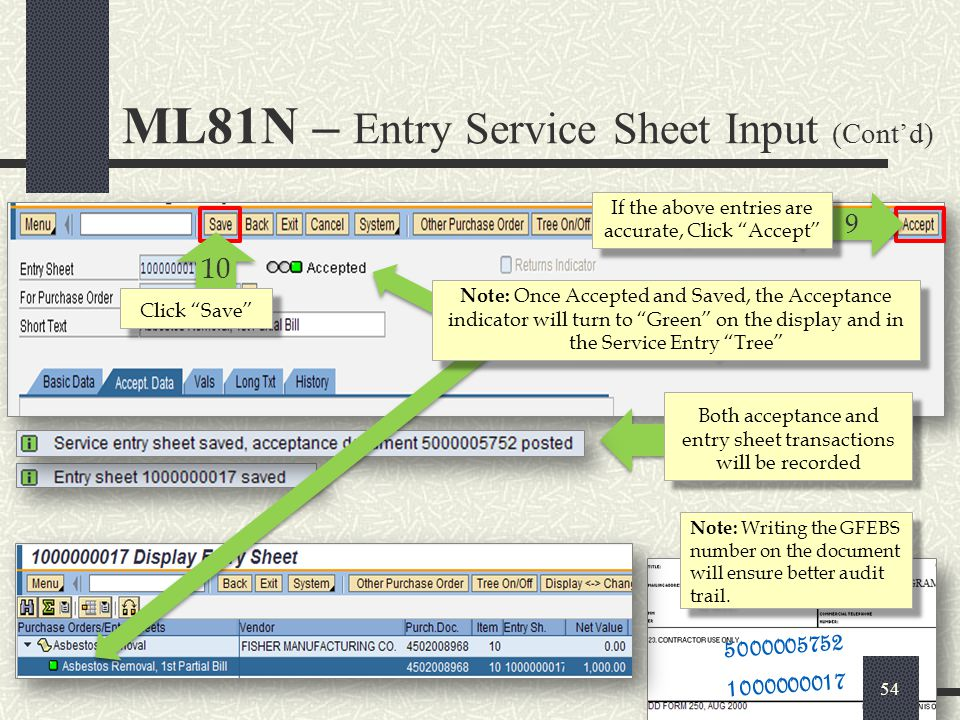 ML81N – Entry Service Sheet Input (Cont'd)