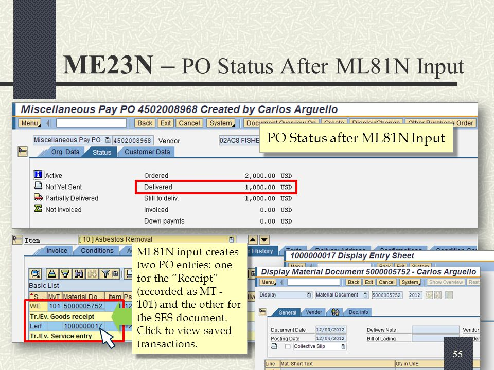 PO Status after ML81N Input