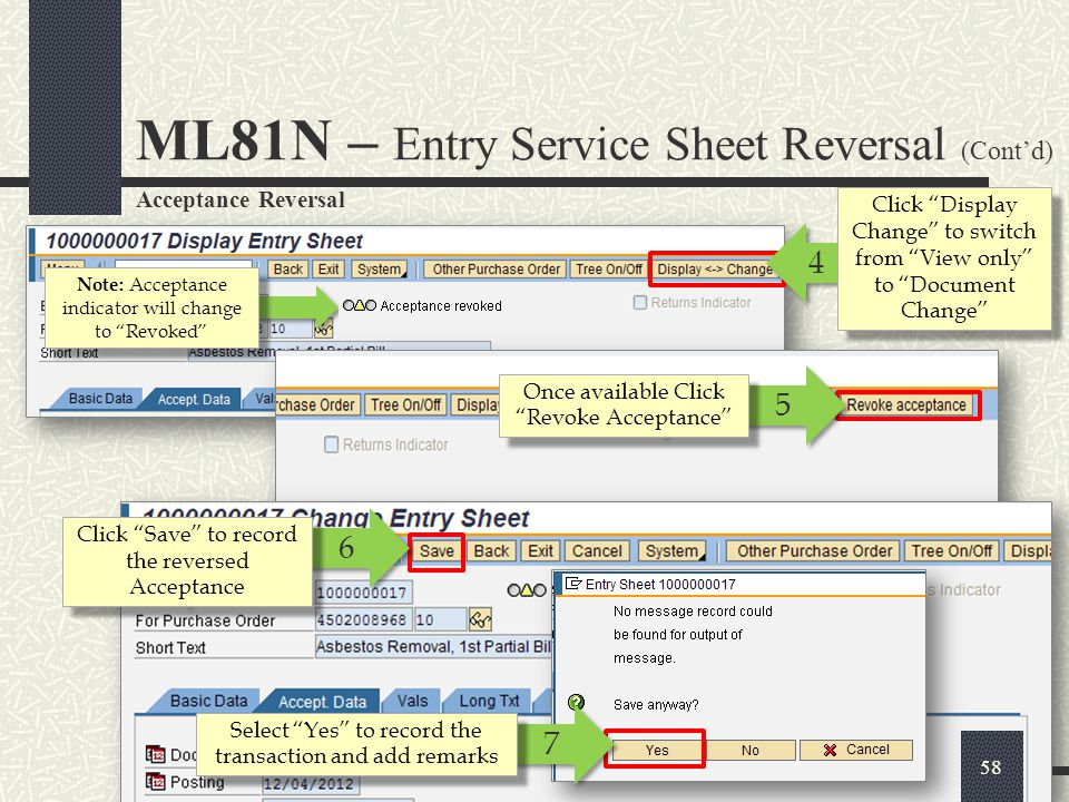 ML81N – Entry Service Sheet Reversal (Cont'd)