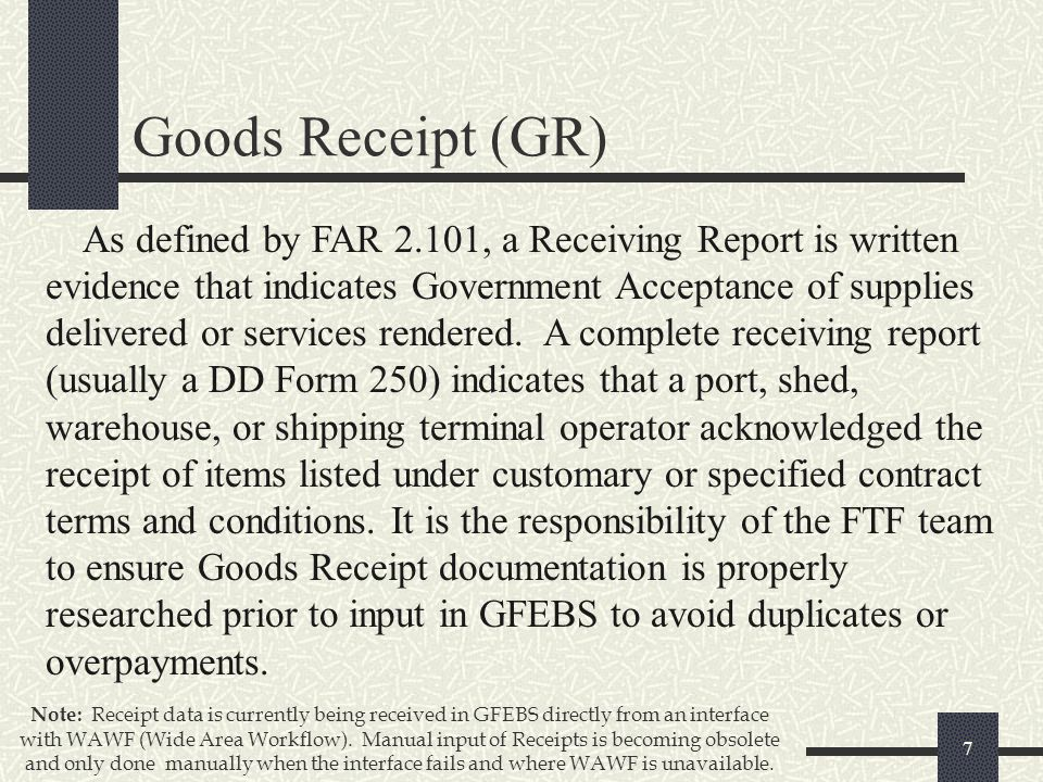 GFEBS Goods and Services Receipt processes for ppt download – Goods Receipt Form