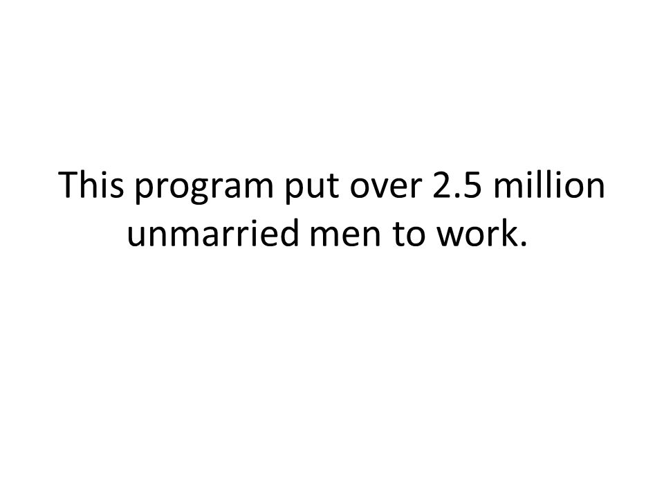 This program put over 2.5 million unmarried men to work.
