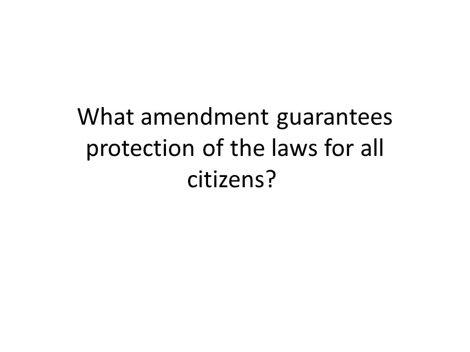 What amendment guarantees protection of the laws for all citizens