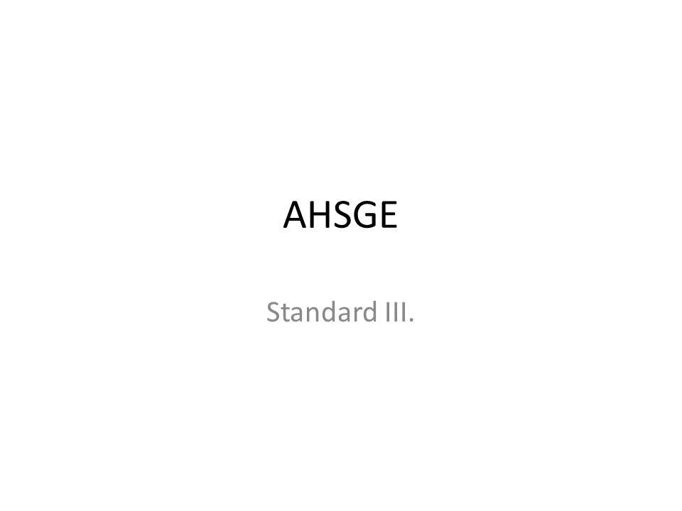 AHSGE Standard III.