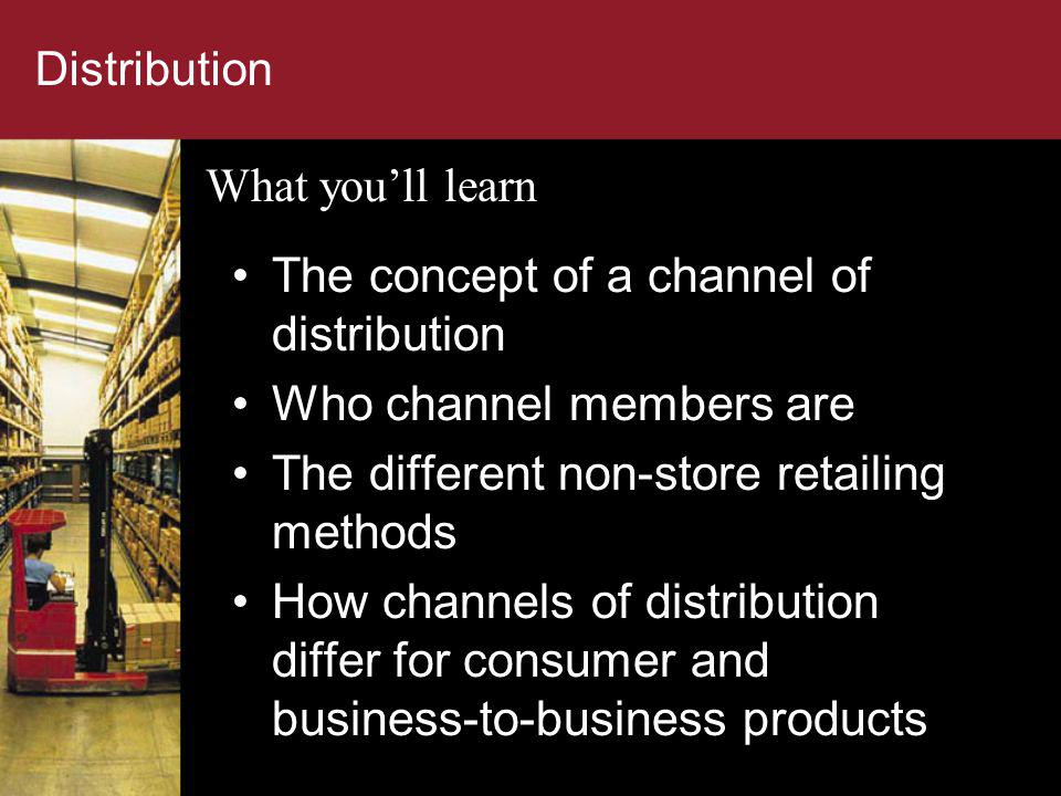 The concept of a channel of distribution Who channel members are
