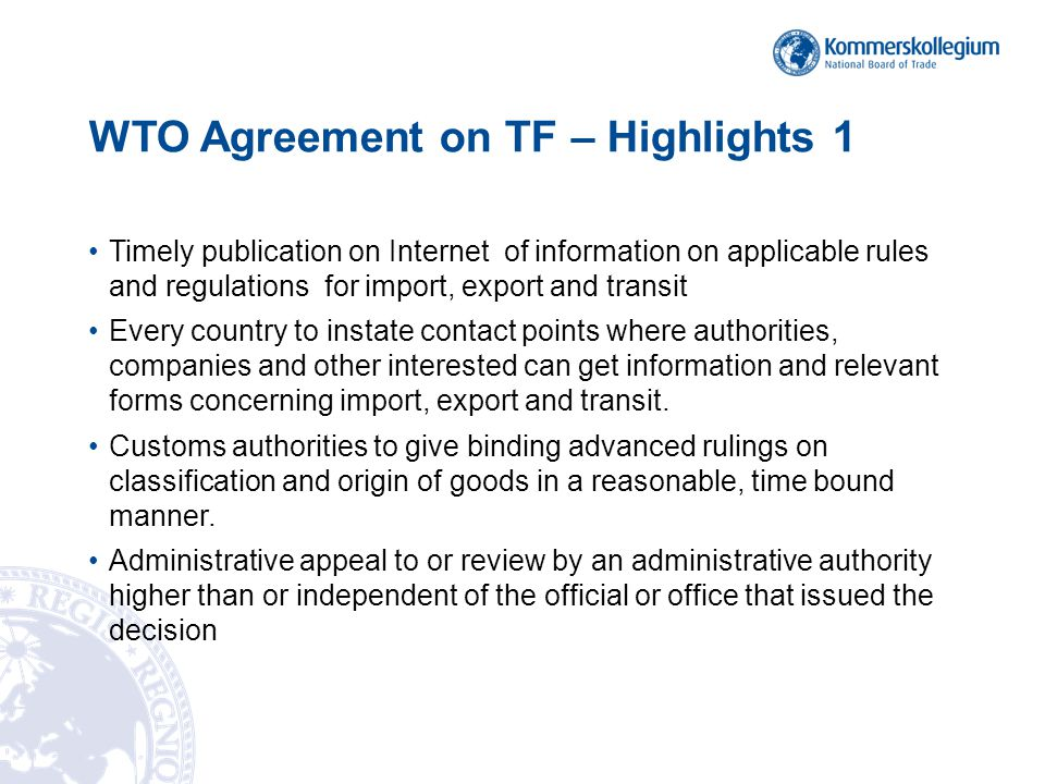 WTO Agreement on TF – Highlights 1
