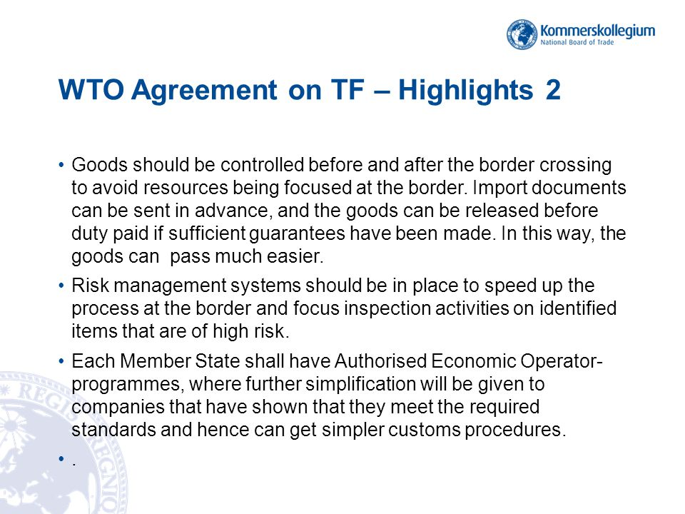 WTO Agreement on TF – Highlights 2
