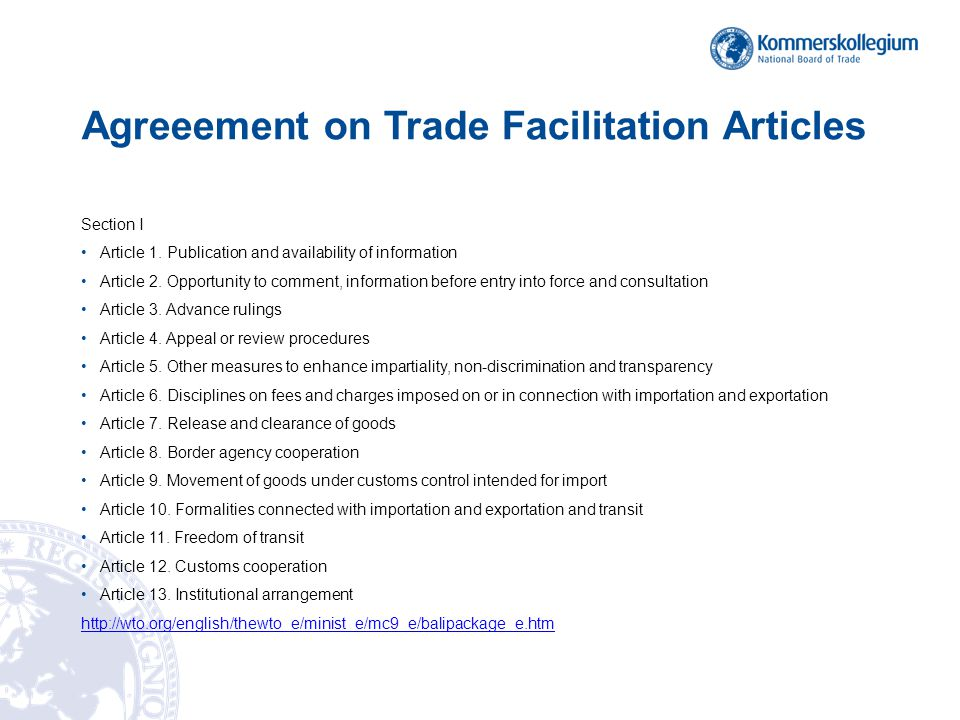 Agreeement on Trade Facilitation Articles