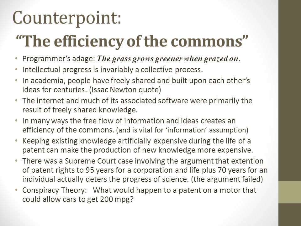 Counterpoint: The efficiency of the commons