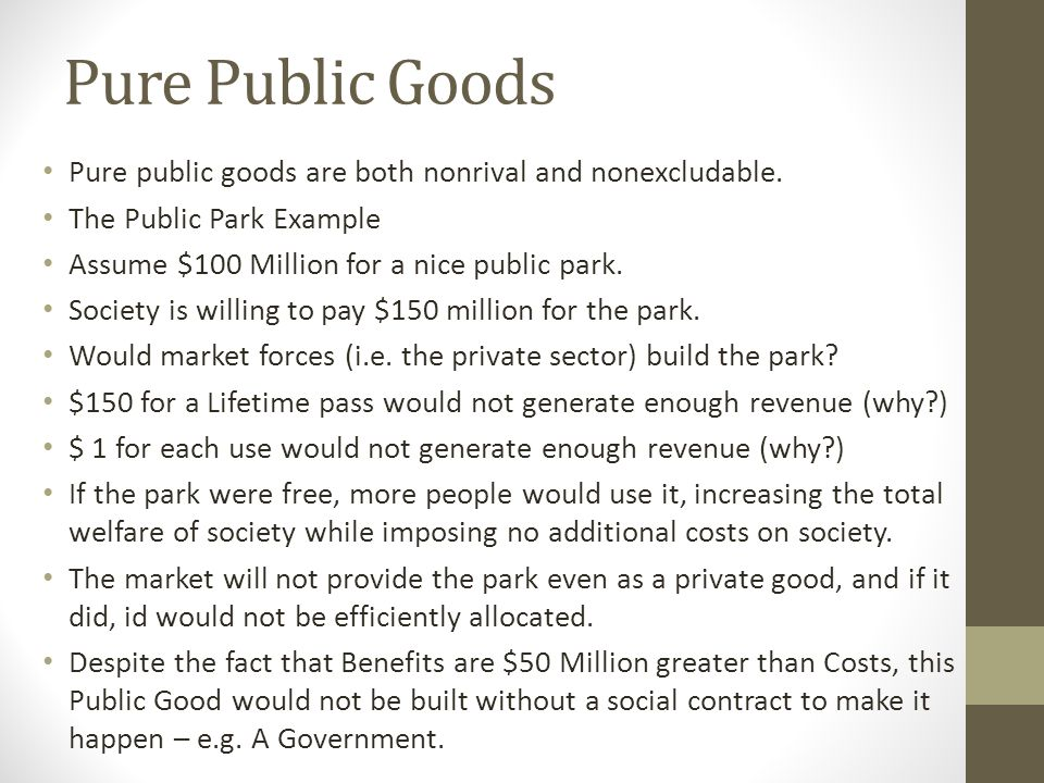 Pure Public Goods Pure public goods are both nonrival and nonexcludable. The Public Park Example. Assume $100 Million for a nice public park.
