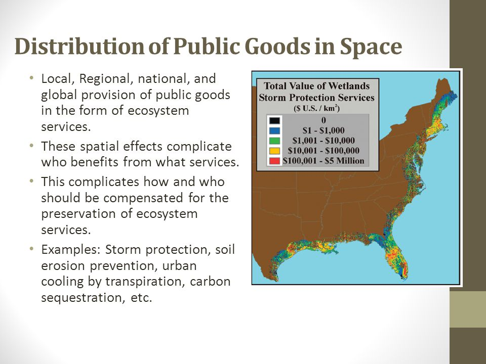 Distribution of Public Goods in Space