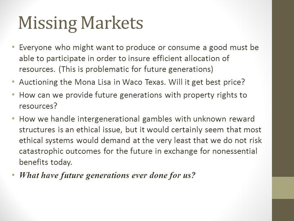 Missing Markets
