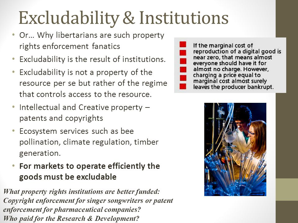 Excludability & Institutions