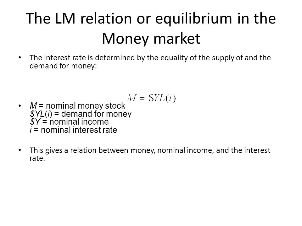The LM relation or equilibrium in the Money market