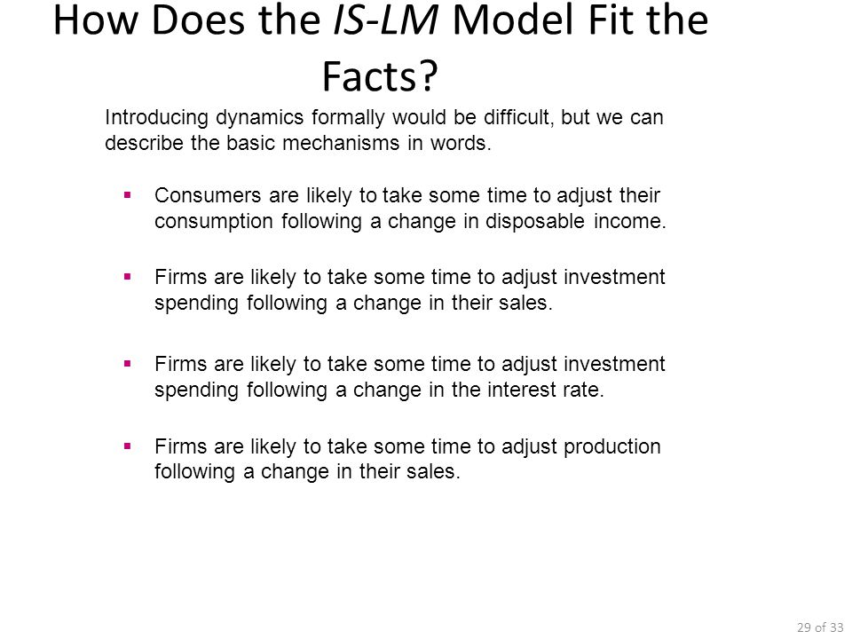 How Does the IS-LM Model Fit the Facts
