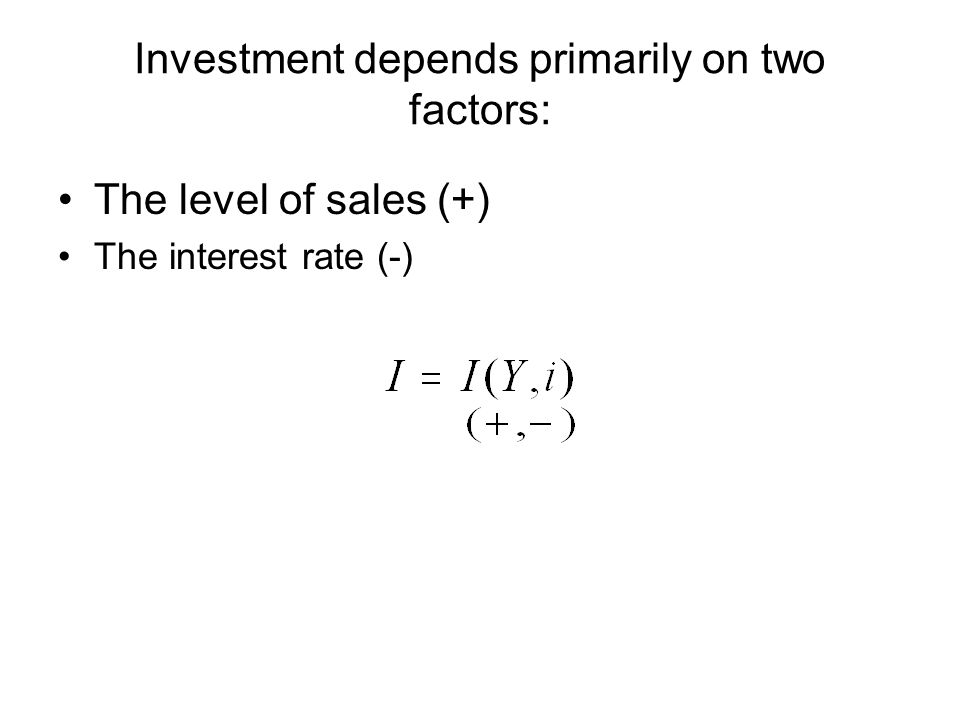 Investment depends primarily on two factors: