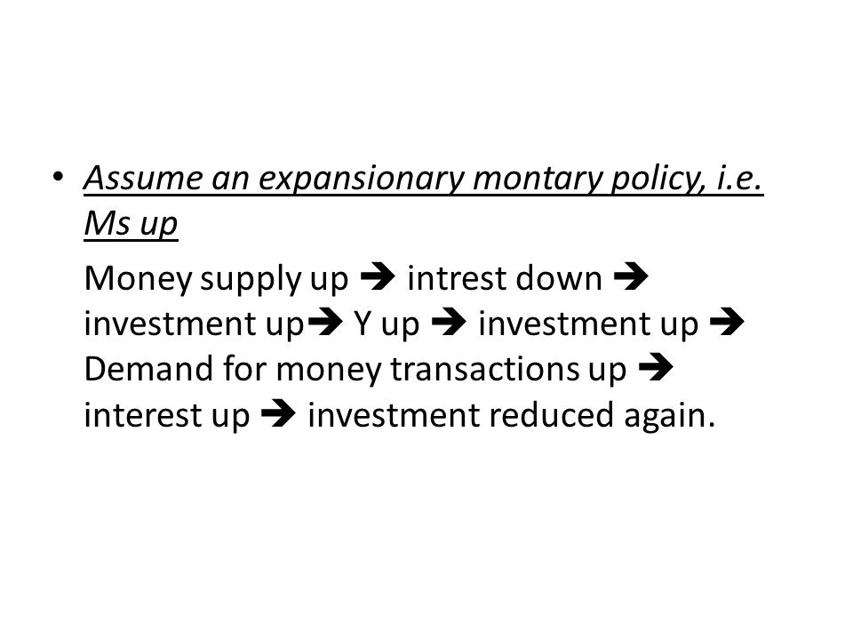 Assume an expansionary montary policy, i.e. Ms up