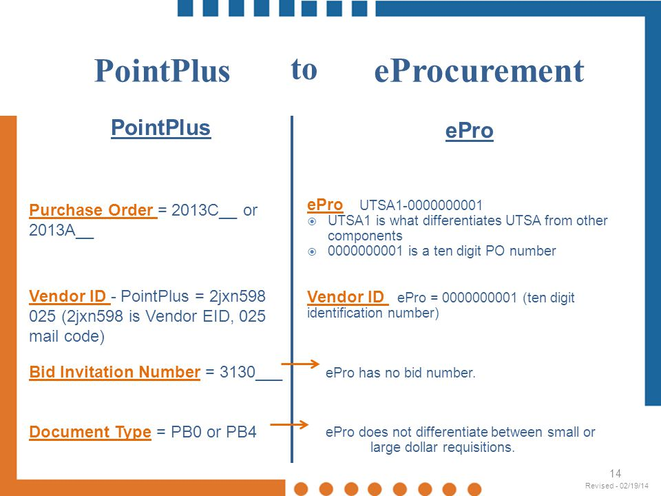 eProcurement PointPlus to PointPlus ePro