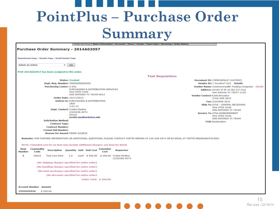 PointPlus – Purchase Order Summary
