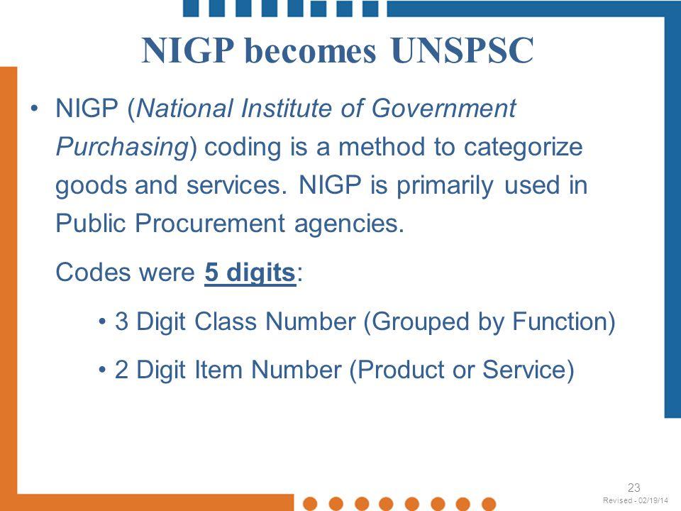 NIGP becomes UNSPSC