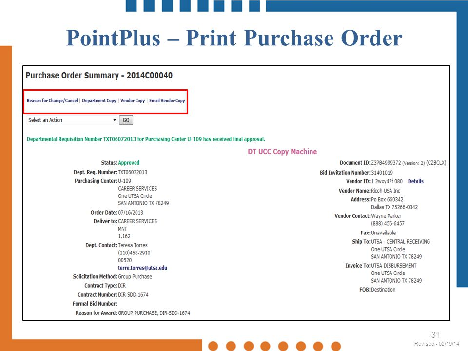 PointPlus – Print Purchase Order
