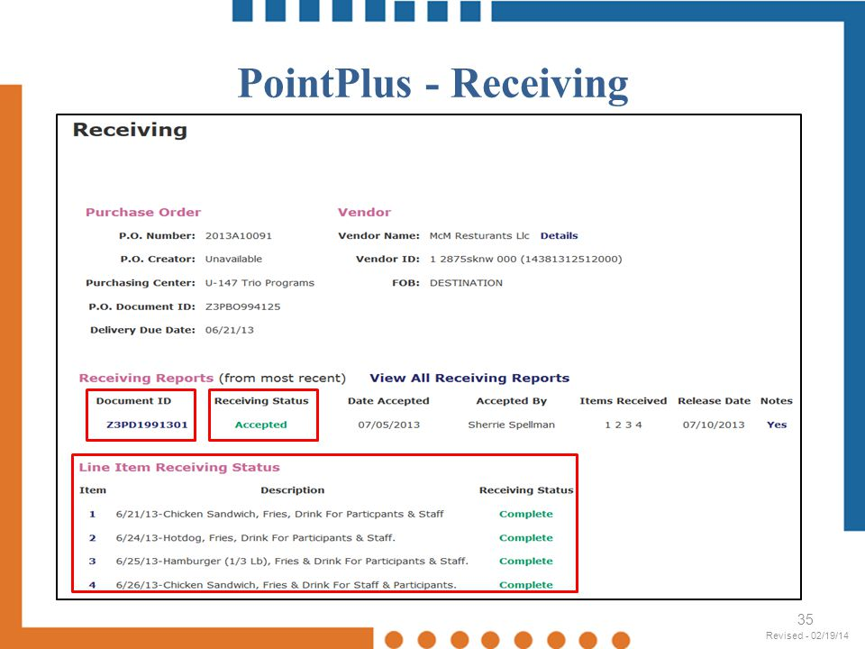 PointPlus - Receiving Revised - 02/19/14 Revised - 02/19/14