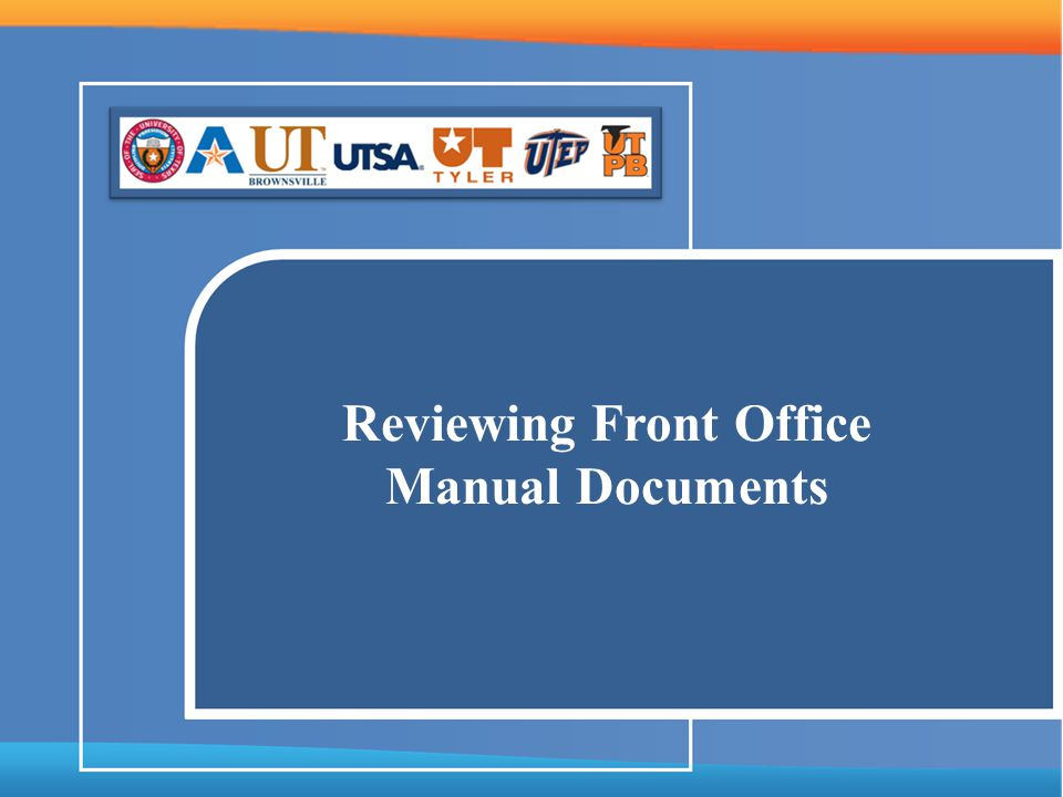 Reviewing Front Office Manual Documents