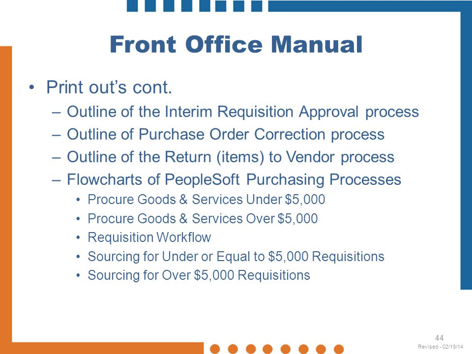 Front Office Manual Print out's cont.