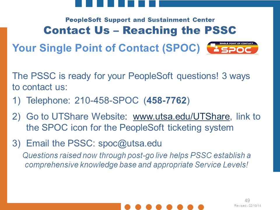 Your Single Point of Contact (SPOC)